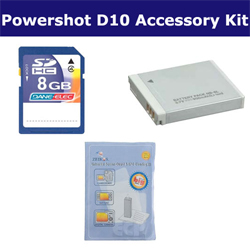 Canon Powershot D10 Digital Camera Accessory Kit includes: SDNB6L Battery, ZELCKSG Care & Cleaning, KSD48GB Memory Card