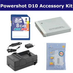 Canon Powershot D10 Digital Camera Accessory Kit includes: SDNB6L Battery, ZELCKSG Care & Cleaning, SDM-185 Charger, KSD48GB Memory Card
