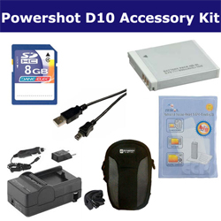 Canon Powershot D10 Digital Camera Accessory Kit includes: SDNB6L Battery, ZELCKSG Care & Cleaning, USB5PIN USB Cable, SDM-185 Charger, KSD48GB Memory Card, SDC-22 Case