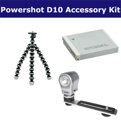 Canon Powershot D10 Digital Camera Accessory Kit includes: SDNB6L Battery, GP-10 Tripod, ZE-VLK18 On-Camera Lighting