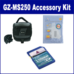 JVC GZ-MS250 Camcorder Accessory Kit includes: KSD2GB Memory Card, SDC-27 Case, ZELCKSG Care & Cleaning