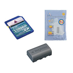 JVC Everio GZ-HD10 Camcorder Accessory Kit includes: KSD2GB Memory Card, ZELCKSG Care & Cleaning, SDBNVF808 Battery