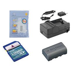 JVC Everio GZ-HD10 Camcorder Accessory Kit includes: SDM-180 Charger, KSD2GB Memory Card, ZELCKSG Care & Cleaning, SDBNVF808 Battery