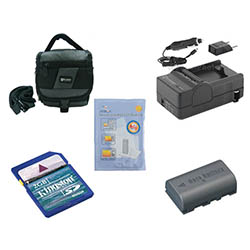 JVC Everio GZ-HD10 Camcorder Accessory Kit includes: SDM-180 Charger, KSD2GB Memory Card, SDC-27 Case, ZELCKSG Care & Cleaning, SDBNVF808 Battery