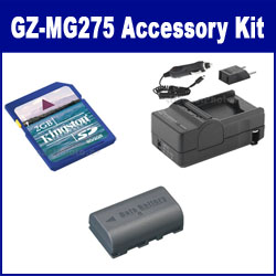 JVC Everio GZ-MG275 Camcorder Accessory Kit includes: SDM-180 Charger, KSD2GB Memory Card, SDBNVF808 Battery