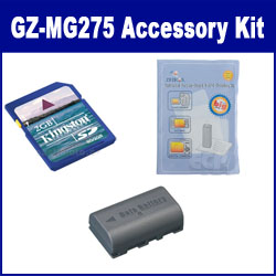 JVC Everio GZ-MG275 Camcorder Accessory Kit includes: KSD2GB Memory Card, ZELCKSG Care & Cleaning, SDBNVF808 Battery