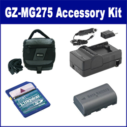 JVC Everio GZ-MG275 Camcorder Accessory Kit includes: SDM-180 Charger, KSD2GB Memory Card, SDC-27 Case, SDBNVF808 Battery