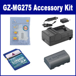 JVC Everio GZ-MG275 Camcorder Accessory Kit includes: SDM-180 Charger, KSD2GB Memory Card, ZELCKSG Care & Cleaning, SDBNVF808 Battery