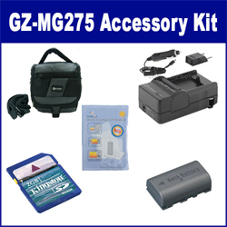 JVC Everio GZ-MG275 Camcorder Accessory Kit includes: SDM-180 Charger, KSD2GB Memory Card, SDC-27 Case, ZELCKSG Care & Cleaning, SDBNVF808 Battery