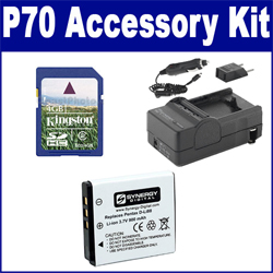 Pentax Optio P70 Digital Camera Accessory Kit includes: SDDLi88 Battery, SDM-1528 Charger, KSD4GB Memory Card