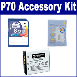 Pentax Optio P70 Digital Camera Accessory Kit includes: SDDLi88 Battery, ZELCKSG Care & Cleaning, KSD48GB Memory Card
