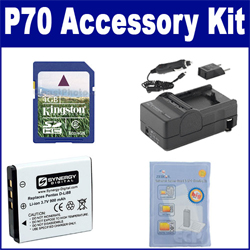 Pentax Optio P70 Digital Camera Accessory Kit includes: SDDLi88 Battery, ZELCKSG Care & Cleaning, SDM-1528 Charger, KSD4GB Memory Card