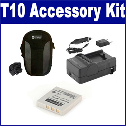 Pentax Optio T10 Digital Camera Accessory Kit includes: SDC-21 Case, SDM-142 Charger, SDNP40 Battery