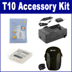 Pentax Optio T10 Digital Camera Accessory Kit includes: ZELCKSG Care & Cleaning, SDC-21 Case, SDM-142 Charger, SDNP40 Battery