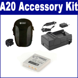 Pentax Optio A20 Digital Camera Accessory Kit includes: SDM-142 Charger, SDNP40 Battery, SDC-21 Case