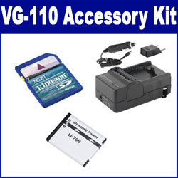 Olympus VG-110 Digital Camera Accessory Kit includes: SDLi70B Battery, SDM-1522 Charger, KSD2GB Memory Card
