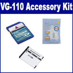 Olympus VG-110 Digital Camera Accessory Kit includes: SDLi70B Battery, KSD2GB Memory Card, ZELCKSG Care & Cleaning