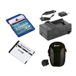 Olympus VG-110 Digital Camera Accessory Kit includes: SDLi70B Battery, SDM-1522 Charger, KSD2GB Memory Card, SDC-21 Case