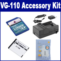 Olympus VG-110 Digital Camera Accessory Kit includes: SDLi70B Battery, SDM-1522 Charger, KSD2GB Memory Card, ZELCKSG Care & Cleaning