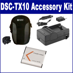 Sony DSC-TX10 Digital Camera Accessory Kit includes: SDNPBN1 Battery, SDM-1515 Charger, SDC-22 Case