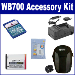 Samsung WB700 Digital Camera Accessory Kit includes: ACD308 Battery, SDM-1501 Charger, KSD2GB Memory Card, SDC-22 Case, ZELCKSG Care & Cleaning