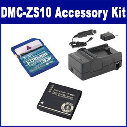 Panasonic Lumix DMC-ZS10 Digital Camera Accessory Kit includes: SDDMWBCG10 Battery, SDM-1508 Charger, KSD2GB Memory Card