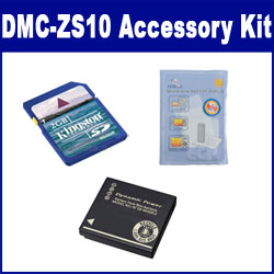 Panasonic Lumix DMC-ZS10 Digital Camera Accessory Kit includes: SDDMWBCG10 Battery, KSD2GB Memory Card, ZELCKSG Care & Cleaning