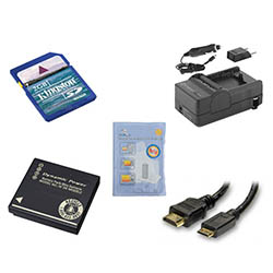 Panasonic Lumix DMC-ZS10 Digital Camera Accessory Kit includes: SDDMWBCG10 Battery, SDM-1508 Charger, KSD2GB Memory Card, HDMI3FM AV & HDMI Cable, ZELCKSG Care & Cleaning