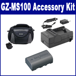 JVC GZ-MS100 Camcorder Accessory Kit includes: SDM-180 Charger, SDBNVF808 Battery, SDC-26 Case