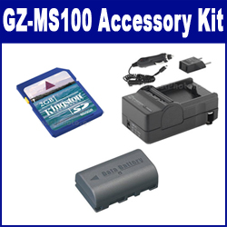 JVC GZ-MS100 Camcorder Accessory Kit includes: SDM-180 Charger, KSD2GB Memory Card, SDBNVF808 Battery
