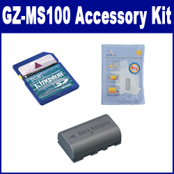 JVC GZ-MS100 Camcorder Accessory Kit includes: KSD2GB Memory Card, SDBNVF808 Battery, ZELCKSG Care & Cleaning