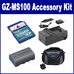 JVC GZ-MS100 Camcorder Accessory Kit includes: SDM-180 Charger, KSD2GB Memory Card, SDBNVF808 Battery, SDC-26 Case