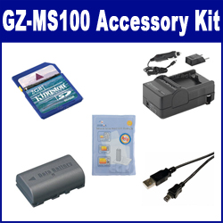 JVC GZ-MS100 Camcorder Accessory Kit includes: SDM-180 Charger, KSD2GB Memory Card, SDBNVF808 Battery, ZELCKSG Care & Cleaning, USB5PIN USB Cable