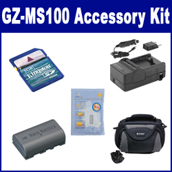 JVC GZ-MS100 Camcorder Accessory Kit includes: SDM-180 Charger, KSD2GB Memory Card, SDBNVF808 Battery, SDC-26 Case, ZELCKSG Care & Cleaning