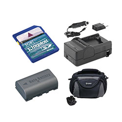 JVC Everio GZ-MG275 Camcorder Accessory Kit includes: SDM-180 Charger, KSD2GB Memory Card, SDBNVF808 Battery, SDC-26 Case