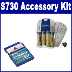 Samsung S730 Digital Camera Accessory Kit includes: SB257 Charger, KSD2GB Memory Card