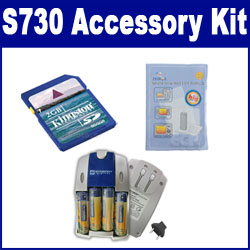 Samsung S730 Digital Camera Accessory Kit includes: SB257 Charger, KSD2GB Memory Card, ZELCKSG Care & Cleaning