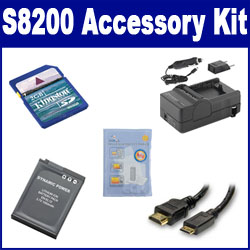 Nikon COOLPIX S8200 Digital Camera Accessory Kit includes: SDENEL12 Battery, SDM-197 Charger, KSD2GB Memory Card, HDMI3FM AV & HDMI Cable, ZELCKSG Care & Cleaning