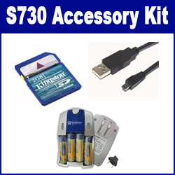 Samsung S730 Digital Camera Accessory Kit includes: SB257 Charger, KSD2GB Memory Card, USB8PIN USB Cable