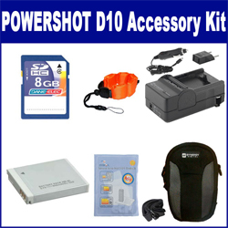 Canon Powershot D10 Digital Camera Accessory Kit includes: SDNB6L Battery, ZELCKSG Care & Cleaning, ZE-FS10-OR Underwater Accessories, SDM-185 Charger, KSD48GB Memory Card, SDC-22 Case