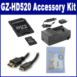 JVC GZ-HD520 Camcorder Accessory Kit includes: M45547 Memory Card, HDMI3FM AV & HDMI Cable, ZELCKSG Care & Cleaning, SDM-1550 Charger