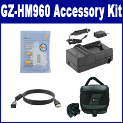 JVC GZ-HM960 Camcorder Accessory Kit includes: USB4PIN USB Cable, ZELCKSG Care & Cleaning, SDC-27 Case, SDM-1550 Charger