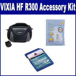 Canon VIXIA HF R300 Camcorder Accessory Kit includes: KSD2GB Memory Card, SDC-26 Case, ZELCKSG Care & Cleaning