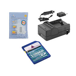 JVC GZ-E10 Camcorder Accessory Kit includes: SDM-1550 Charger, KSD2GB Memory Card, ZELCKSG Care & Cleaning