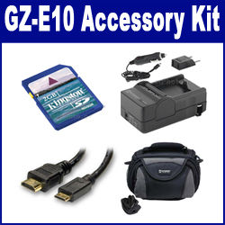 JVC GZ-E10 Camcorder Accessory Kit includes: SDM-1550 Charger, KSD2GB Memory Card, SDC-26 Case, HDMI3FM AV & HDMI Cable