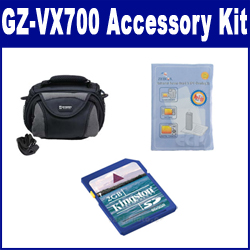 JVC GZ-VX700 Camcorder Accessory Kit includes: KSD2GB Memory Card, SDC-26 Case, ZELCKSG Care & Cleaning