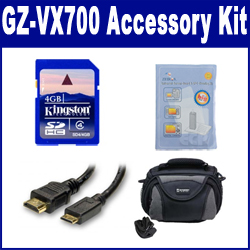 JVC GZ-VX700 Camcorder Accessory Kit includes: KSD2GB Memory Card, SDC-26 Case, HDMI3FM AV & HDMI Cable, ZELCKSG Care & Cleaning