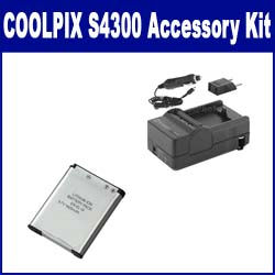 Nikon Coolpix S4300 Digital Camera Accessory Kit includes: SDENEL19 Battery, SDM-1541 Charger