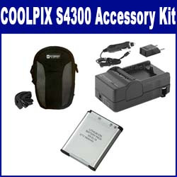 Nikon Coolpix S4300 Digital Camera Accessory Kit includes: SDENEL19 Battery, SDM-1541 Charger, SDC-21 Case