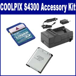 Nikon Coolpix S4300 Digital Camera Accessory Kit includes: SDENEL19 Battery, SDM-1541 Charger, KSD2GB Memory Card